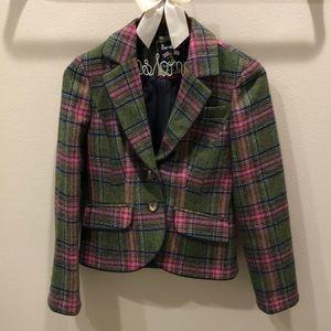Boden Pink/Green Tweed Jacket US Petite 2/Size 0
